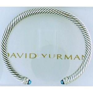 David Yurman Blue Topaz Bangle 5mm Sz Medium
